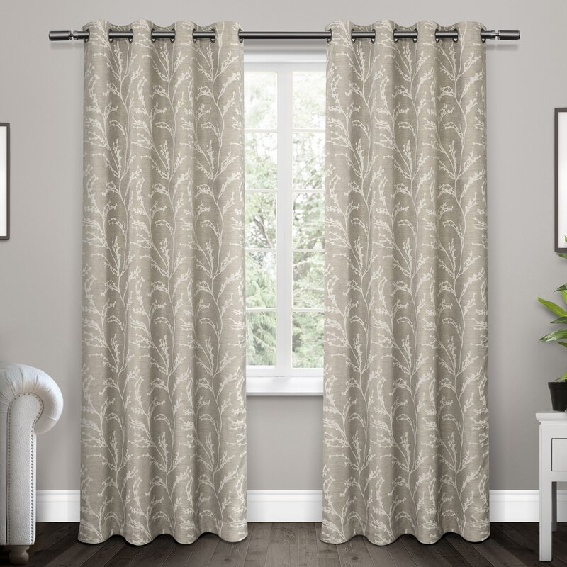 Baillons Nature Fl Room Darkening Thermal Grommet Curtain Panels