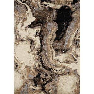 Woodrum Melting Cavern Beige/Black Area Rug ByBrayden Studio