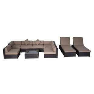 Outsunny 9 Piece Sectional Seating Group with Chaise Lounge