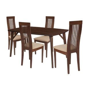 Kaiser 5 Piece Solid Wood Dining Set by Ebern Designs