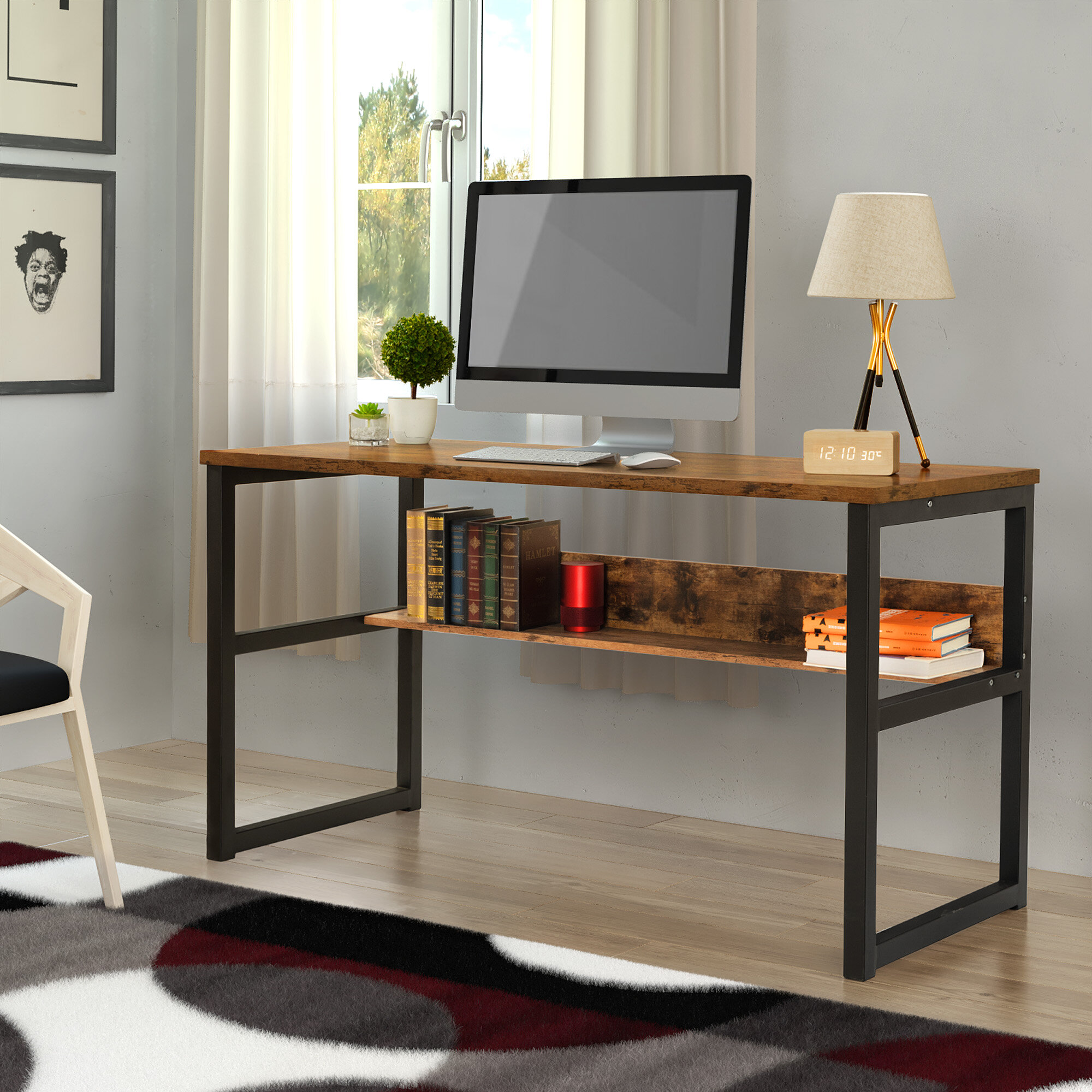 """33.33"""" Computer Desk With Bookshelf, Modern Office Desk With Storage  Shelves, Large Computer Table, Sturdy Writing Table Workstation For Home  Office,"""