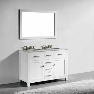 Sverre 48  Double Bathroom Vanity with Mirror Vanities Joss Main