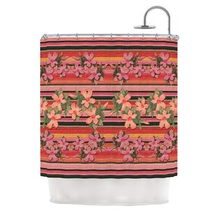 Peach Hibiscus Stripe by Nina May Single Shower Curtain