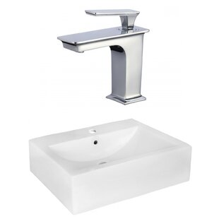 Purchase Ceramic 16 Wall Mount Bathroom Sink with Faucet and Overflow ByAmerican Imaginations