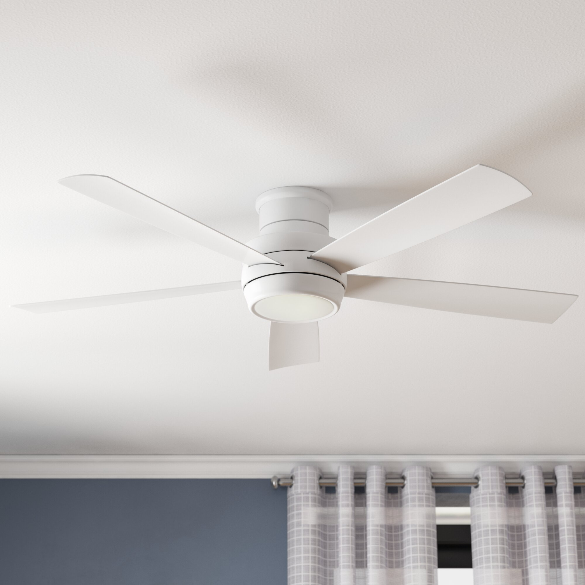 Laude Run 52 Cedarton Hugger 5 Blade Ceiling Fan With Remote Light Kit Included Reviews Wayfair