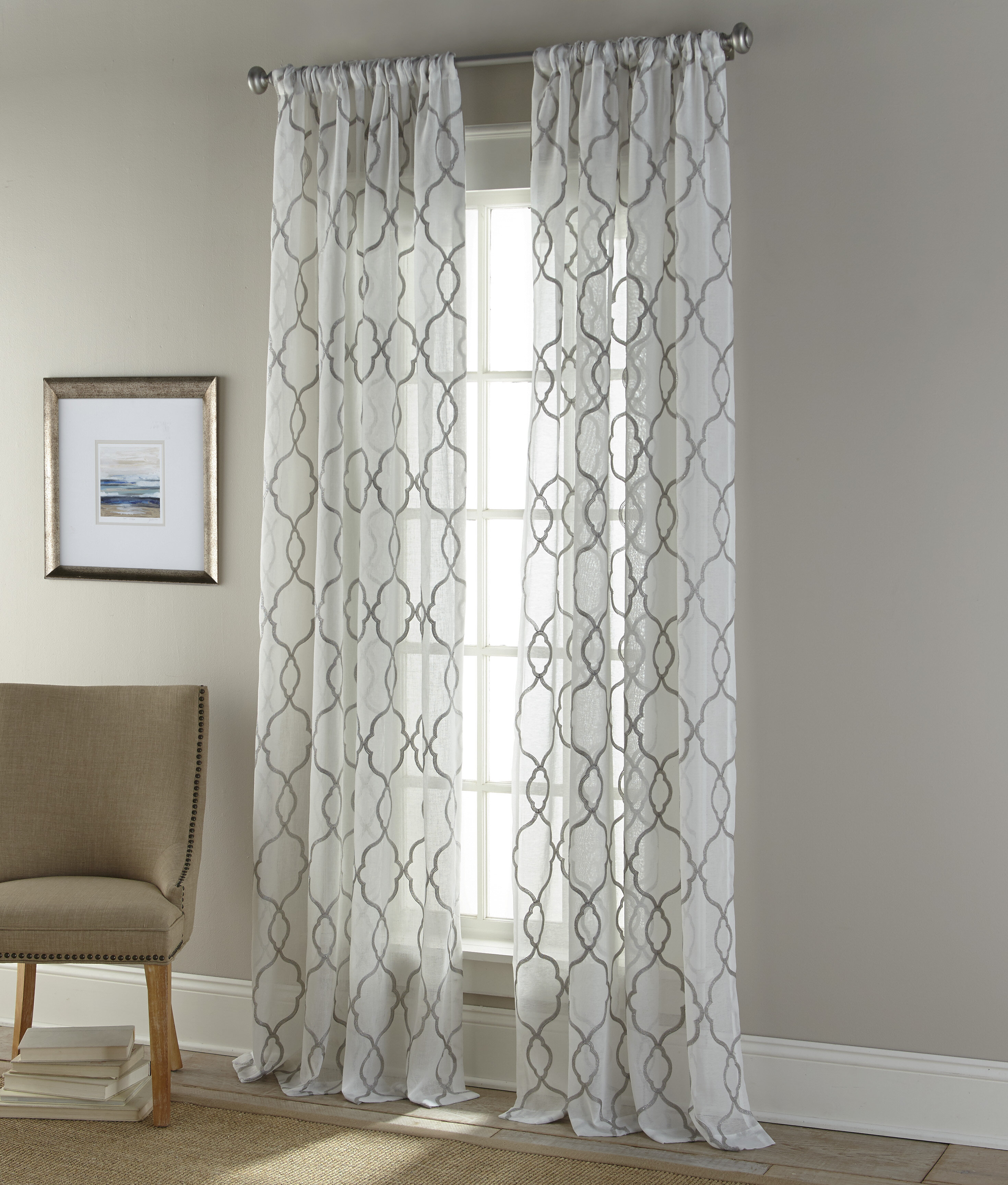 Sherry Kline Medallion Geometric Sheer Curtain Panels Wayfair
