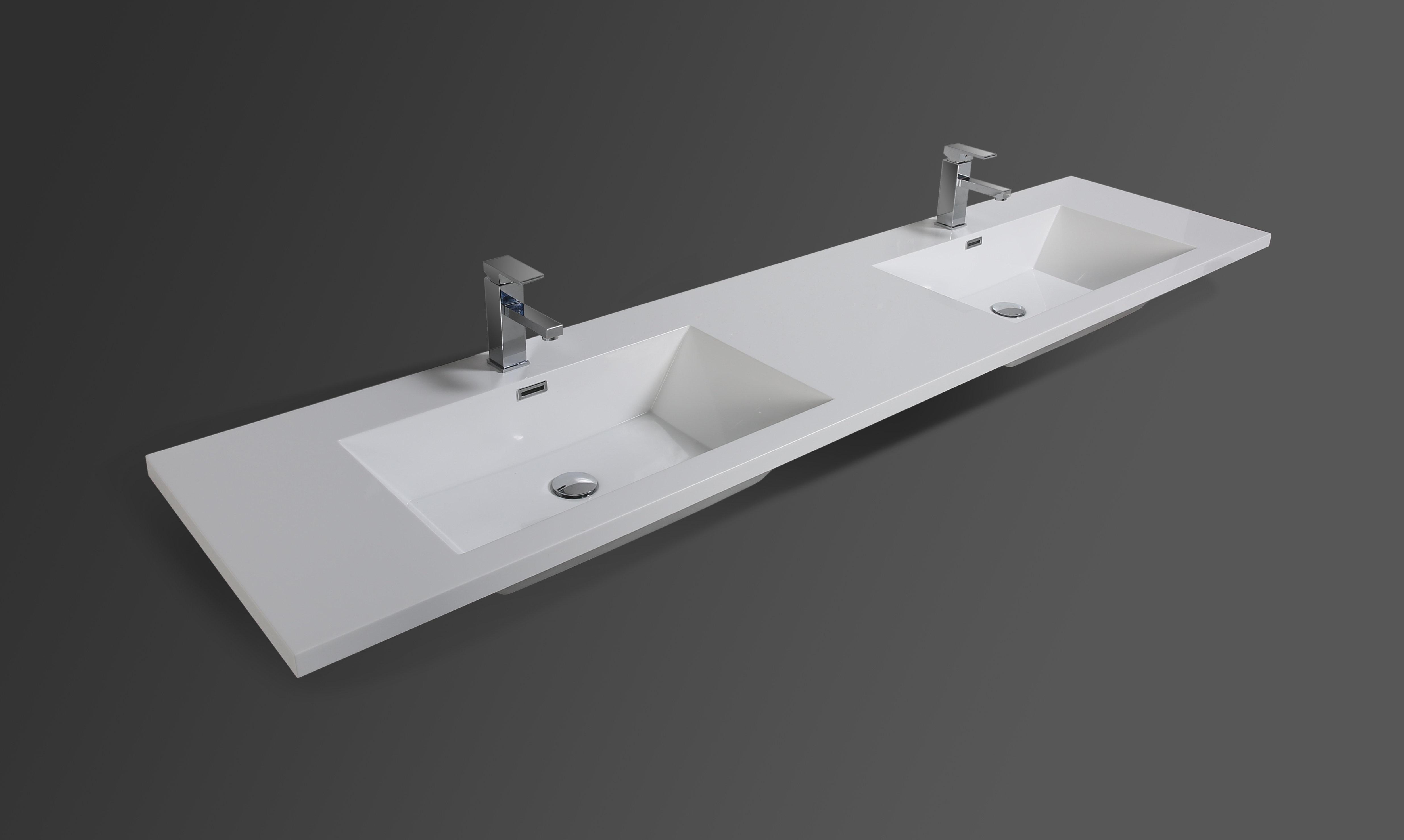 Mebo 82 Double Bathroom Vanity Top In White With Sink Wayfair
