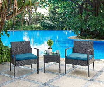 3-Piece Wade Logan Kobe Rattan Patio Conversation Set