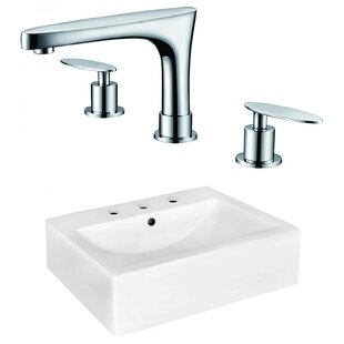 Bargain Xena Farmhouse Semi-Recessed Ceramic Rectangular Vessel Bathroom Sink with Faucet and Overflow ByRoyal Purple Bath Kitchen