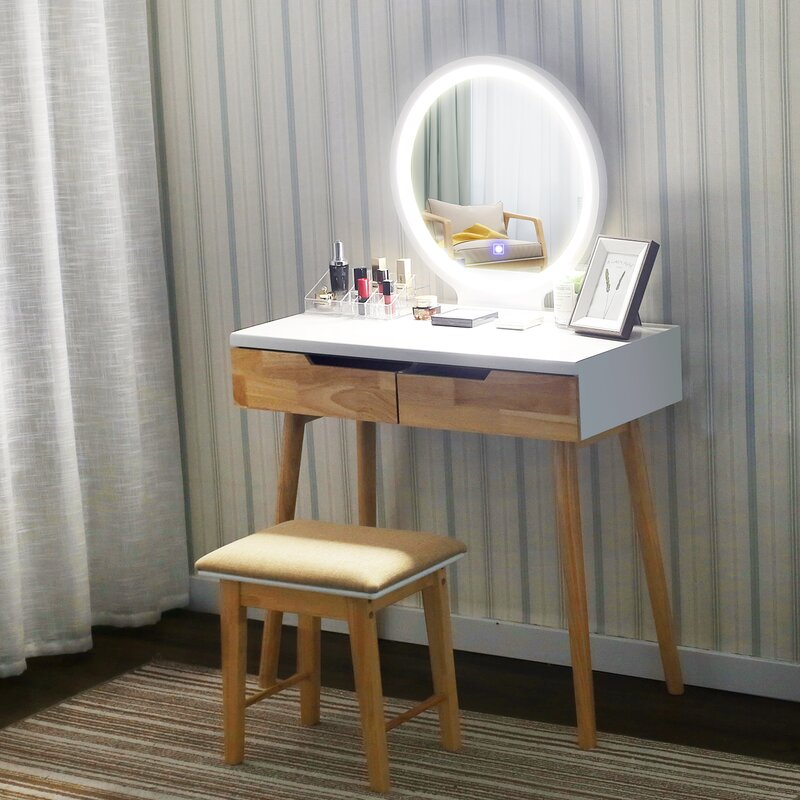 Corrigan Studio Oakham Vanity Set With Stool And Mirror Reviews Wayfair