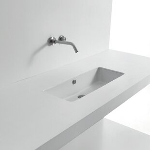 Whitestone Ceramic Rectangular Undermount Bathroom Sink with Overflow By WS Bath Collections