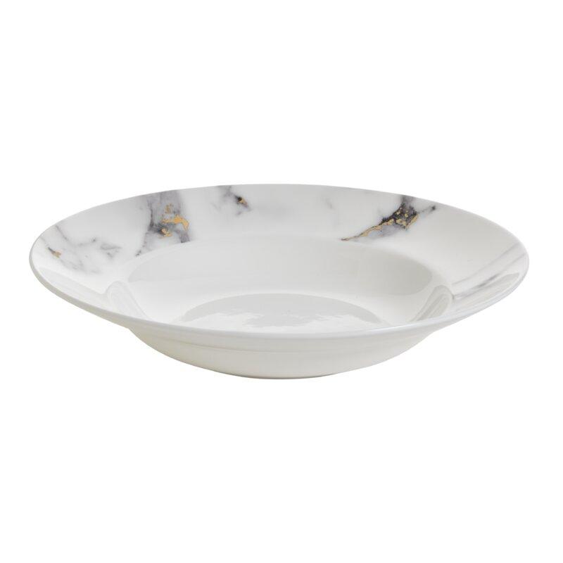 Prouna Marble Venice Fog Bone China Soup Pasta Bowl Wayfair