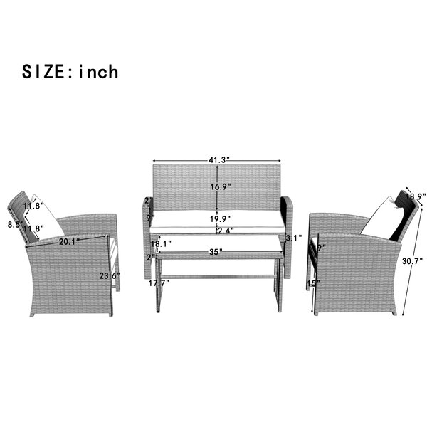 Wicker/Rattan 4 - Person Seating Group with Cushions