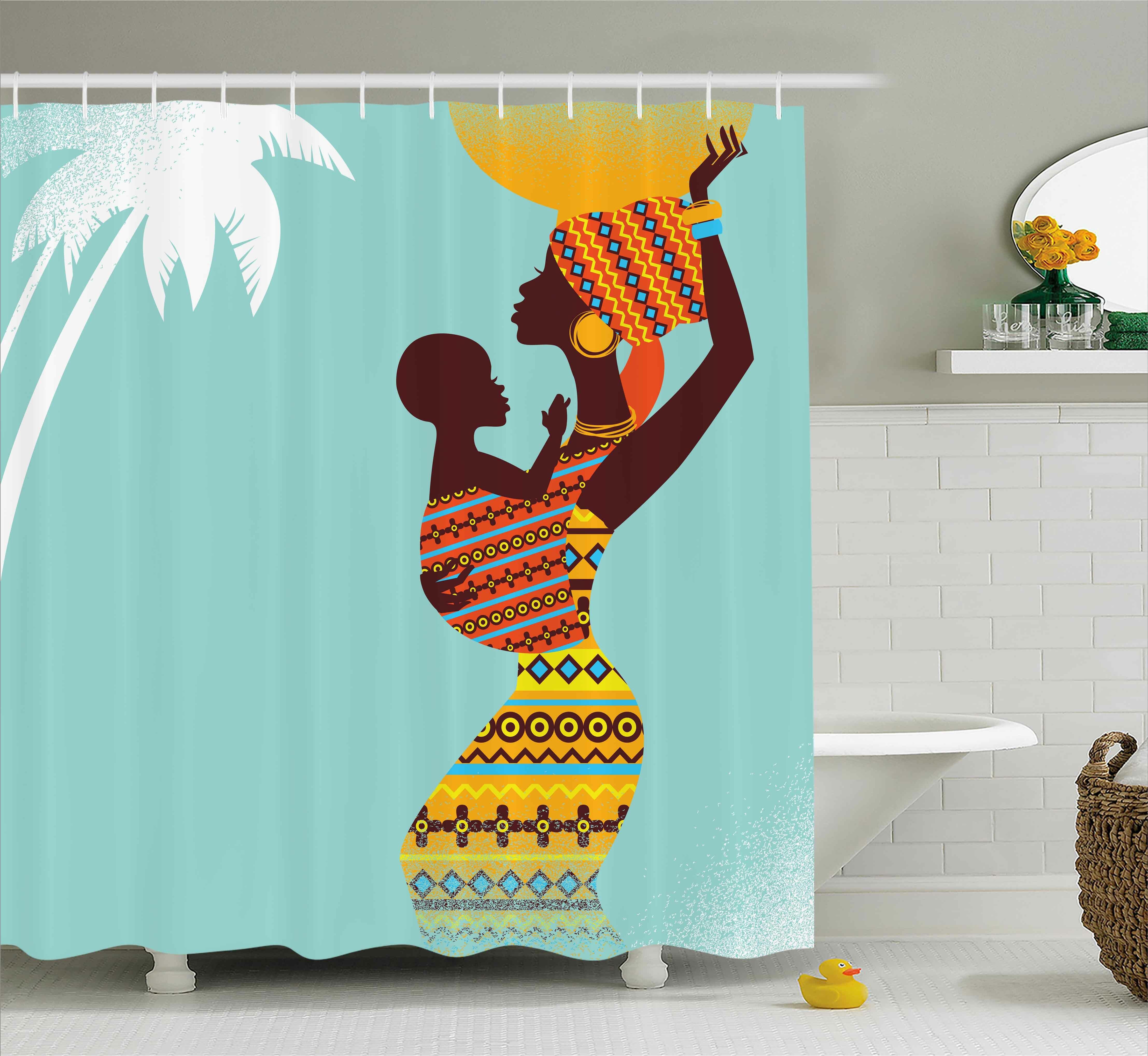 African Rideau de douche Aboriginal filles art imprimé pour salle de bain