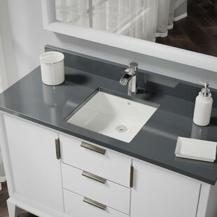René By Elkay Vitreous China Rectangular Undermount Bathroom Sink with Overflow