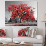 Landscape Big Red Tree on Foggy Day by Deberarr - Photograph Print