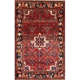 Inexpensive One-of-a-Kind Ledezma Hamadan Persian Hand-Knotted 4'3 x 6'8 Wool Red/Burgundy Area Rug By Isabelline