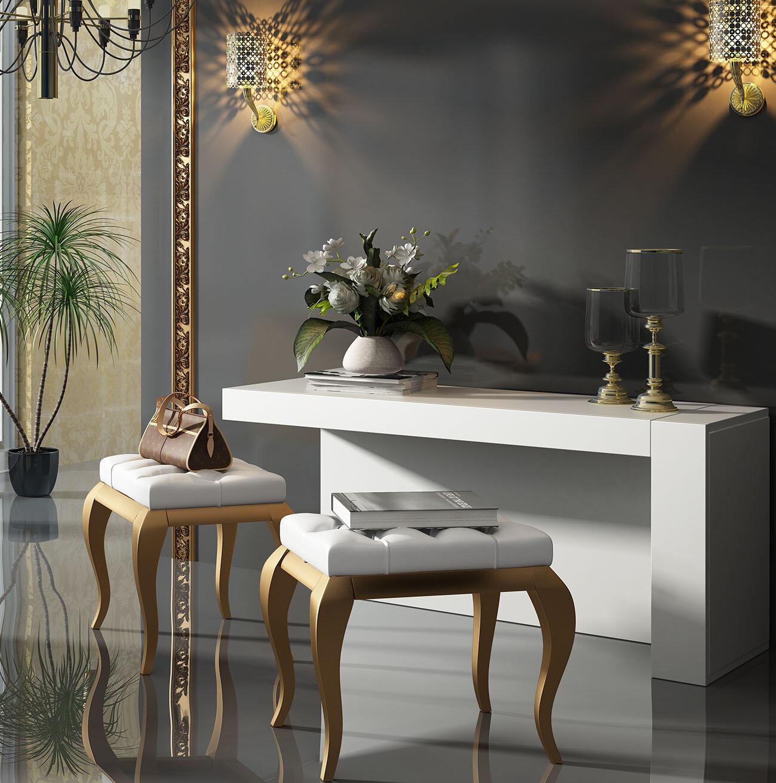 Image of: Everly Quinn Kirkwood Bedroom Makeup Vanity Set With Mirror Wayfair