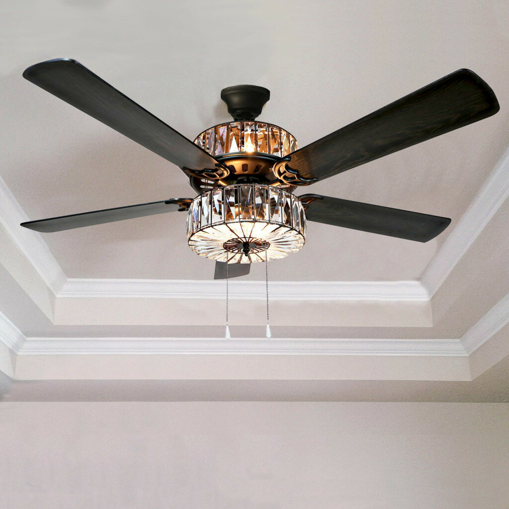 Ceiling Fans Youll Love Way Fan Always Hot Light Switched Wiring Done Right 52 Njie Caged Crystal 5 Blade With Remote