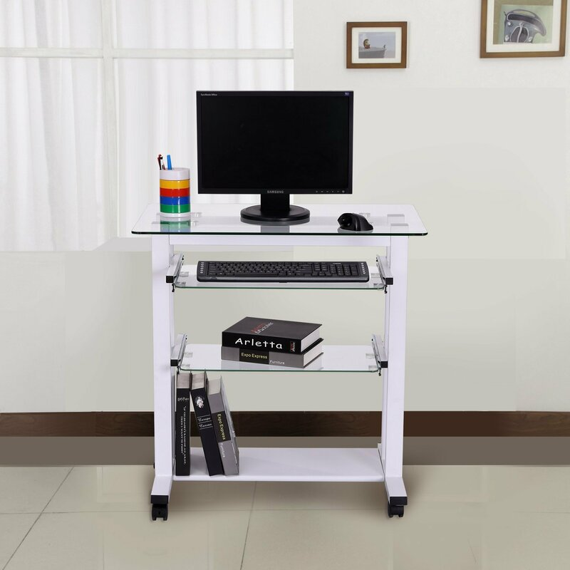 laptop table itm computer desk workstation stand on pc wheels top w glass