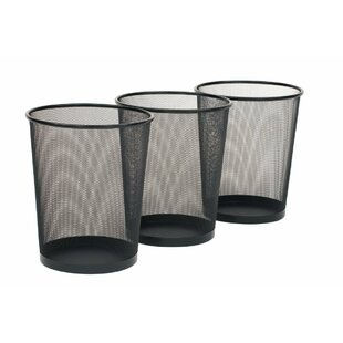 Seville Classics Round Mesh Stainless Steel 6 Gallon Waste Basket (Set of ..