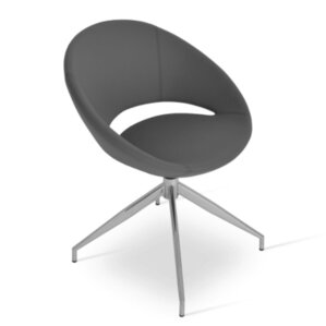 Crescent Spider Swivel Side Chair in PPM Leatherette - Gray by sohoConcept