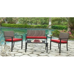 Bondi Outdoor 4 Piece Lounge Seating Group with Cushion