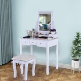 Gioia Vanity Set with Stool and Mirror by House of Hampton®