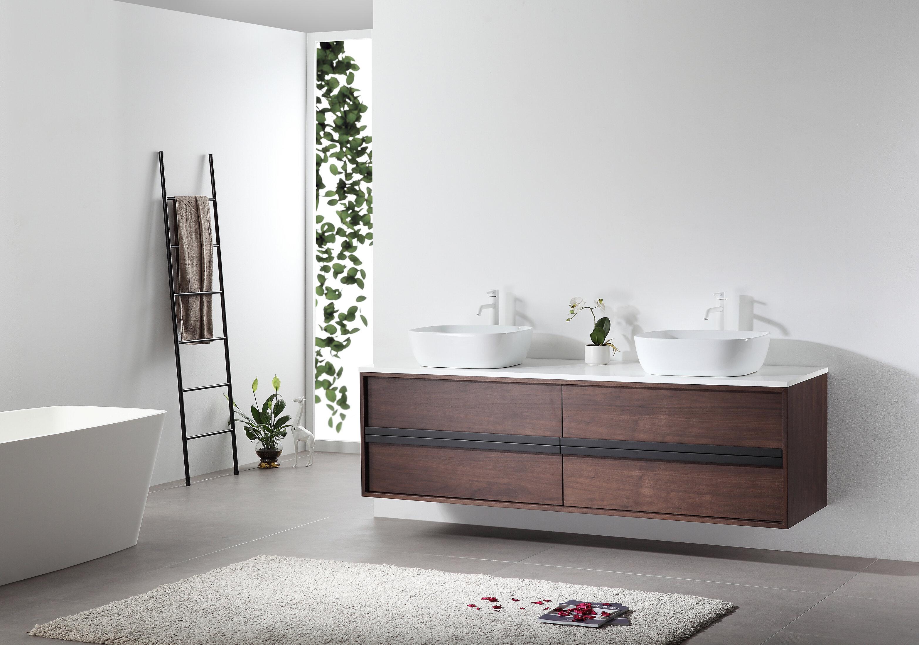 Kartonrepublic Sintra 72 Wall Mounted Double Bathroom Vanity Set Reviews Wayfair