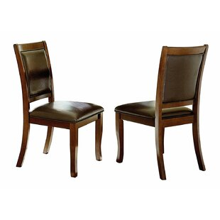 Kanye Wood and Leather Upholstered Dining Chair (Set of 2)