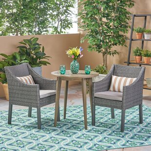 Rodden Outdoor 3 Piece Bistro Set with Cushions