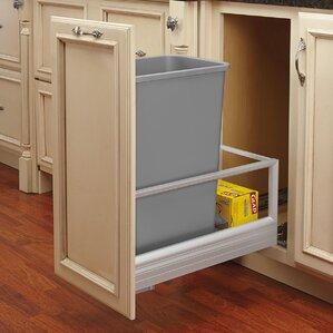 Wooden Tilt Out Trash Can Cabinet   Wayfair