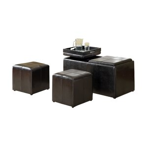 Beckan 3 Piece Storage Leather Ottoman Set by Hokku Designs