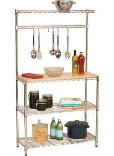 Wayfair Basics™ Wayfair Basics Baker's Rack Workstation with Rubberwood Top