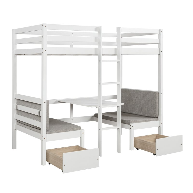 Isabelle Max Bain Twin Loft Bed With Desk And Drawers Reviews Wayfair