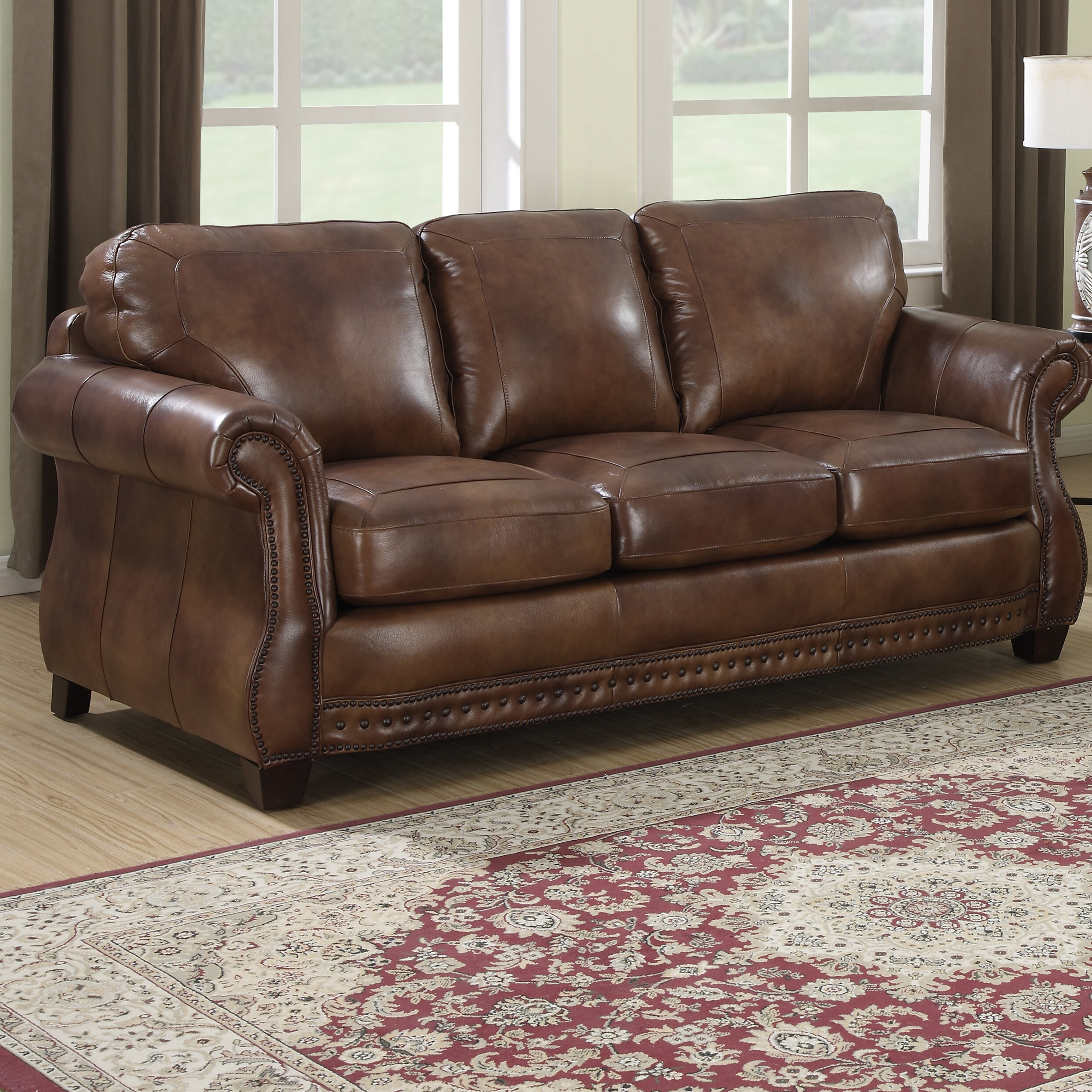 Attirant Darby Home Co Beglin Cognac Leather Sofa | Wayfair
