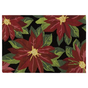 Poinsettias Hand-Hooked Black Indoor/Outdoor Area Rug