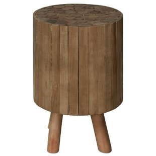 Scott Wooden Drum End Table by Union Rustic