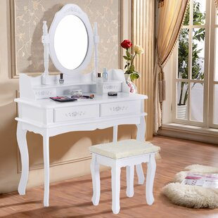 Charlton Home Loughborough Vanity Set with Mirror