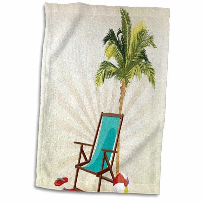 Bearden One Palm Tree with a Beach Lounge Chair and Flip Flops Design Hand  Towel