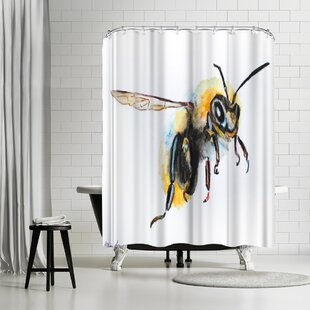 Allison Gray Bumblebee Single Shower Curtain