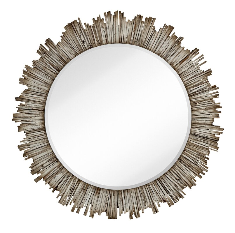 Majestic Mirror Large Round Beveled Accent Mirror with White Washed ...