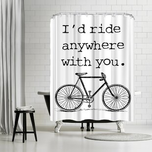 East Urban Home Amy Brinkman Bicycle Ride Anywhere Black Shower Curtain