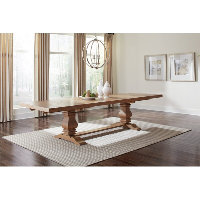 Gracie Oaks Bewdley Extendable Solid Wood Dining Table Wayfair