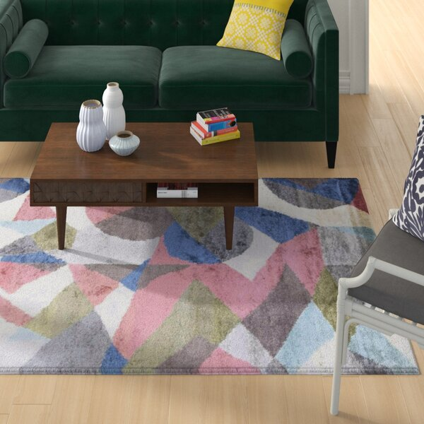 George Oliver Patchway Abstract Hand Knotted Pink Area Rug Wayfair