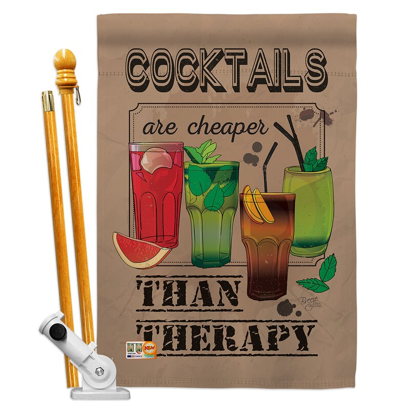 Breeze Decor Cocktails Are Cheaper Happy Hour And Drinks Wine Impressions Decorative 2 Sided Polyester 40 X 28 In Flag Set
