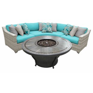Falmouth 4 Piece Sectional Seating Group With Cushions by Sol 72 Outdoor 2019 Sale