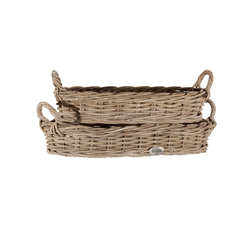 Rattan 2 Piece Basket Set -  what a lovely example of French farmhouse bliss and the joy of French country decorating...come tour a little more, s'il vous plait!