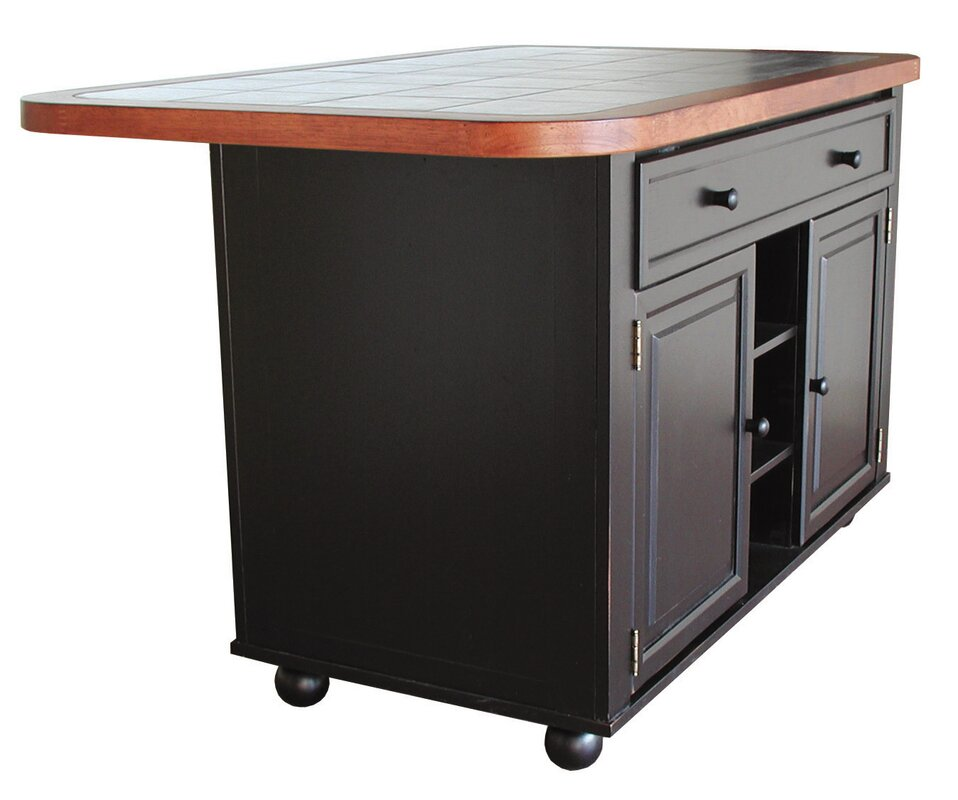 Loon Peak Lockwood Kitchen Island with Ceramic Tile Top & Reviews ...