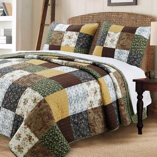 Huitt Patchwork Cotton 3 Piece Reversible Quilt Set by August Grove